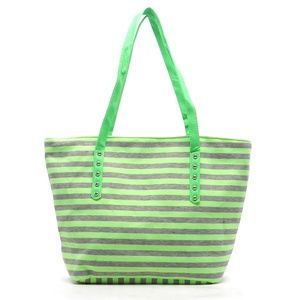GREEN JERSEY STRIPED OVERSIZED NEON TOTE